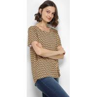 Blusa Estampada Geométrica Colcci Manga Curta Feminina - Feminino-Marrom+Amarelo