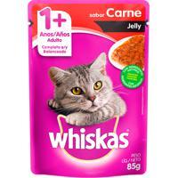 Ração Para Gatos Whiskas Jelly Adulto 1+ Anos Sachê Sabor Carne Com 85G