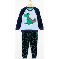Pijama Infantil Com Estampa Dinossauro Brilha No Escuro Em Fleece - Tam 1 A 4