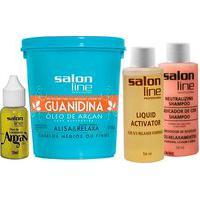 Creme De Relaxamento Salon Line Guanidina Óleo De Argan Para Cabelos Médios Ou Finos 218G +1 Shampoo Neutralizante 54Ml + 1 Líquido Activador 54Ml + 1 Óleo Argan