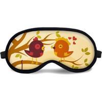 Máscara De Dormir Tritengo Birds - Unissex-Bege+Dourado