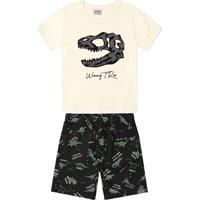 Conjunto Camiseta Com Bermuda Infantil Bege