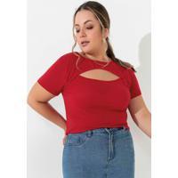 Blusa Vermelha Com Recorte Vazado Plus Size