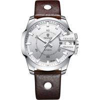 Relógio Tevise T814 Masculino Automático Pulseira De Couro Marrom - Branco