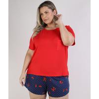Pijama Feminino Plus Size Blusa Manga Curta Com Bolso Vermelho