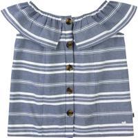Blusa Ciganinha Listrada - Azul & Brancapuc