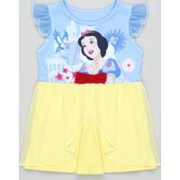 Camisola Infantil Carnaval Branca De Neve Com Tule Manga Curta Azul Claro
