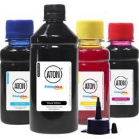 Kit 4 Tintas Para Epson Bulk Ink L380 | Aton Black 500Ml Color 100Ml
