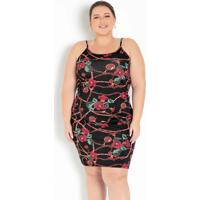 Vestido Floral Preto Tubinho De Alças Plus Size