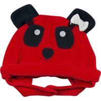 Enxoval Baby Ano Zero Touca Panda Vermelho