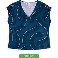 Blusa Estampada Com Decote V Azul