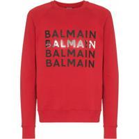 Balmain Moletom Com Logo Estampado - Vermelho