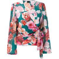 Pinko Blusa Com Transpasse E Estampa De Rosa - Verde