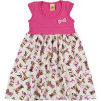Vestido Infantil Para Menina - Rosa Pink/Bege