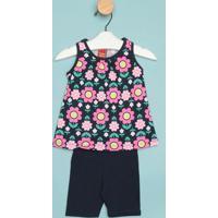 Conjunto De Blusa Floral + Short- Azul Escuro & Rosakyly