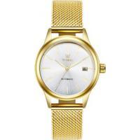 Relógio Tevise 9017 Masculino Automático Pulseira De Aço - Branco E Dourado