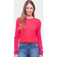 Blusa Tricô Cantão Listrada Feminina - Feminino-Vermelho