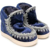 Mou Kids Tênis 'Eskimo' De Veludo - Azul
