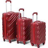 Conjunto De Malas De Viagem Yins Brasil Com Rodinhas Abs 3 Unidades - Masculino-Vermelho