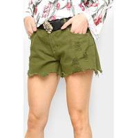 Short Jeans Lança Perfume Slim Comfort Feminino - Feminino-Verde