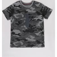 Camiseta Infantil Homem Aranha Estampada Camuflada Manga Curta Chumbo