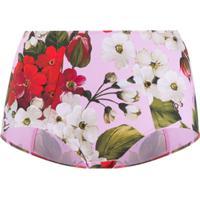 Dolce & Gabbana Calcinha Cintura Alta Com Renda Floral - Rosa
