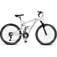 Bicicleta Kyklos Aro 26 Caballu 7.8 Suspensão Full Baixa A-36 21V Branco/Vermelho