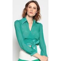 Blusa Com Amarraã§Ã£O - Verde - Chocoleitechocoleite