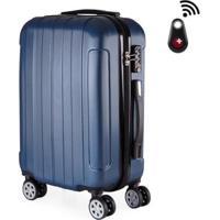 Mala De Bordo Viagem Abs Swisstop - Localizador Bluetooth, Rodas Duplas 360º, Cadeado Tsa - Unissex-Azul