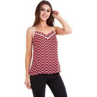 Blusa Alcinha Crepe Chiffon Estampado Feminina - Feminino-Vermelho