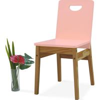 Cadeira De Madeira Tucupi 40X51X81Cm - Acabamento Stain Nózes E Rosa Bebê