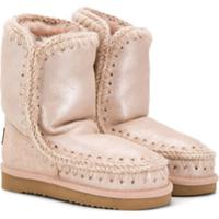 Mou Kids Stitch Details Lined Boots - Rosa