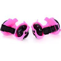 Patins Infantil Easy Roller Para Adaptar No Tênis Rodas Pretas Cor Rosa
