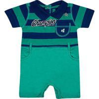 """Macaquinho """"Champion""""- Verde & Azul Marinhotip Top"""