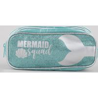 """Estojo Escolar Infantil Sereia """"Mermaid Squad"""" Com Brilho E Divisórias Verde Claro"""