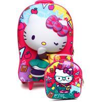 Kit 2 Pçs Max Toy Mochila De Rodinhas Hello Kitty Rosa