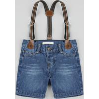 Bermuda Jeans Infantil Com Suspensório Azul Médio
