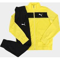 Agasalho Puma Techstripe Tricot Suit Masculino - Masculino-Amarelo+Preto