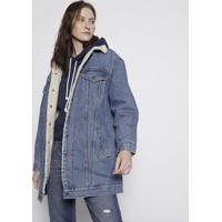 Casaco Jeans Com Pelãºcia - Azul & Off Whitelevis