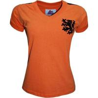 Camisa Liga Retrô Holanda 1974 Feminino - Feminino-Laranja
