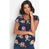 Blusa Floral Com Recorte Torcido- Azul & Branca- Vipvip Reserva