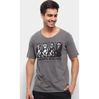 Camiseta Bossa Brasil Macacos Masculina - Masculino-Chumbo