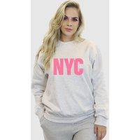 Blusa Moletom Feminino Moleton Básico Suffix Cinza Claro Estampa New York City Rosa Bebe