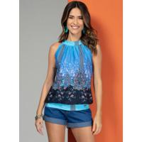 Blusa Cashmere Azul Com Franzido
