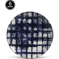 Conjunto 6Pçs Pratos Rasos Porto Brasil Coup Chess Azul/Branco
