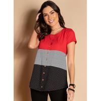 Blusa Com Botões Frontais Listras E Vermelho