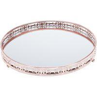Bandeja Ferro Redonda Prata 29Cm Com Espelho Bunch Prestige