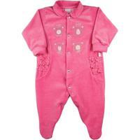 Macacão Bebê Plush Liso Bordado 4 Ursinhas - Rosa Escuro Rn