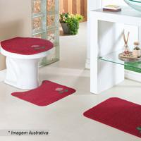 Jogo Para Banheiro Flor- Vermelho & Rosa Claro- 3Pã§Soasis