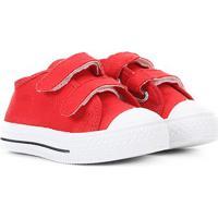Tênis Infantil Kurz Escolar Velcro - Masculino-Vermelho